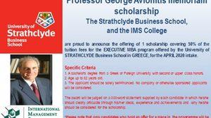 Strathclyde - IMS College: Υποτροφία στη μνήμη του καθηγητή Γ. Αυλωνίτη