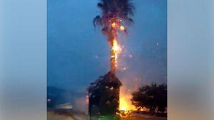 Κεφαλονιά - Φωτιά από πτώση κεραυνού