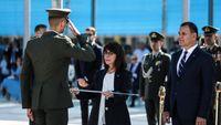 Η Κατερίνα Σακελλαροπούλου στην τελετή ορκωμοσίας των αποφοίτων της Σχολής Ευελπίδων